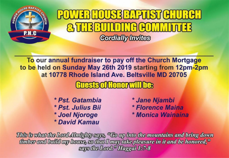 fundraising in Power House Baptist Church
